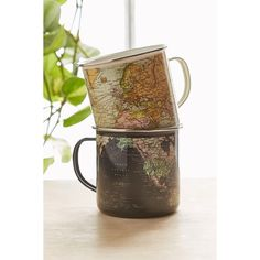 Enamel Map Mug (€13) ❤ liked on Polyvore featuring home, kitchen & dining, drinkware, dark blue and enamel mug