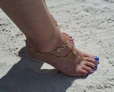 14kt Gold Plated Swarovski Crystal Barefoot by EcclectiaJewelry
