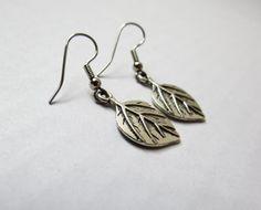Pewter Leaf Dangle Earrings by GypsyDreamerCafe, $8.00