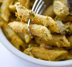 Acorn Squash Vegan Alfredo Sauce. Kamut Penne Pasta. Looks yummy! and starts from fresh squash too.
