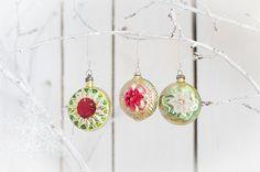 Set of 3 vintage Soviet glass christmas ornaments. by Grannysbox