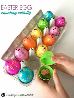 This Easter egg counting activity is a perfect Easter math center for Pre-K and Kindergarten kids! Make your spring math centers more exciting and hands-on! #eastereggs #iteachk #earlychildhood #teachersfollowteachers