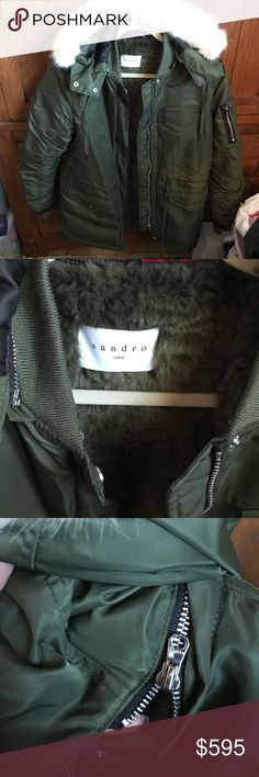 Sandro Army Green Winter Coat Faux fur hood. Removeable faux fur green interior lining. Size 3 or M/L. excellent condition only worn a few times. Lots of pocket space! Sandro Jackets & Coats