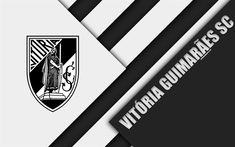 Download wallpapers Vitoria SC, Guimaraes, Portuguese football club, 4k, logo, material design, black and white abstraction, Primeira Liga, Portugal, football, Premier League