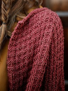 Detail of Bacca, a free cardigan pattern knit in Berroco Fuji #freepattern #berroco