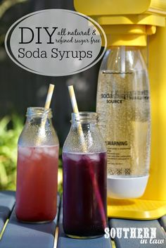 Ever wondered how to make your own Healthy Soda Syrup? Kristy shares two recipes for all natural healthy and refined sugar free sodas - the Strawberry Sparkle and Blueberry Fizz. Perfect for entertaining or enjoying at home! - March 16 2019 at Yummy Drinks, Healthy Drinks, Nutrition Drinks, Refreshing Drinks, Healthy Recipes For Two, Soda Italiana, Soda Stream Recipes, Healthy Soda, Vegan Recipes