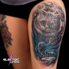 Cheshire Cat & The Caterpillar  #cheshirecat#aliceinwonderland#realistictattoo#colorportrait#portraittattoo#tatovering#oslo#norway#attitudetattoostudio#tattoos