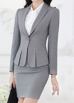 Uniform Design Red Black Grey Formal Business Suits For Women Office Work Woman Skirt Suits Ladies Blazer Corporate Wear, Outerwear Women, Outerwear Jackets, Blazers For Women, Jackets For Women, Ladies Blazers, Formal Suits For Women, Ladies Jackets, Only Blazer