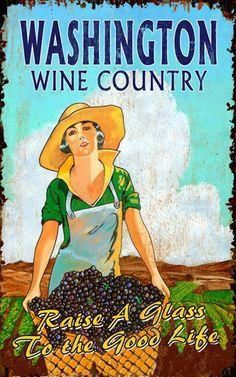 Washington Wine Country wood sign