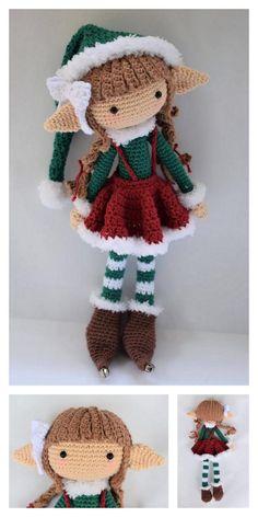 Amigurumi Small Christmas Elf Free Pattern - Modèles gratuits d& - Amigurumi Christmas Elf bricolage Crochet Dolls Free Patterns, Christmas Crochet Patterns, Holiday Crochet, Crochet Doll Pattern, Amigurumi Patterns, Amigurumi Doll, Doll Patterns, Free Crochet, Crochet Ornaments