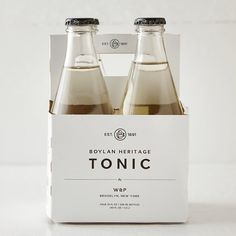 """Created by Brooklyn's W&P in collaboration with Boylan Bottling Company, this traditional tonic water is the perfect match for your favorite vodka or gin.- Pack of 4 10 oz. bottles- Ingredients: seltzer, cane sugar, quinine, natural botanicals- Glass bottles, metal cap, cardboard carrier- USA7.5""""H, 5""""W, 5""""L"""