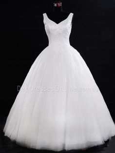 Princess Cut V Neckline Tulle Debutante Dress - Dennise