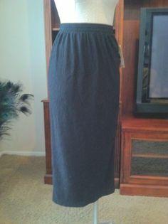 Vintage Black Marled Ribbed Midi Pencil Skirt