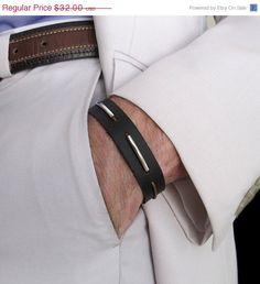 Mens Brown Leather Bracelet. Adjustable Leather Cuff Bracelet. Elegant Mens Band