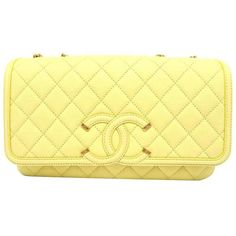 Preowned Chanel Yellow Quilted Caviar Leather Gold Metal Chain... ($3,690) ❤ liked on Polyvore featuring bags, handbags, shoulder bags, messenger bags, yellow, shoulder strap purses, leather handbags, leather messenger bag, chain shoulder bag and leather shoulder bag
