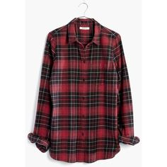 MADEWELL Flannel Slim Ex-Boyfriend Shirt in Winslow Plaid ($80) ❤ liked on Polyvore featuring tops, shirts, flannel, blouses, kilt red, flannel shirts, boyfriend shirt, plaid button up shirts, long flannel shirts and plaid shirts
