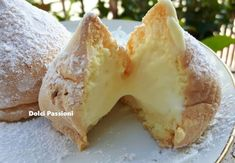 """Sospiri or """"Tette delle Monache"""" of Altamura - Sweet Passions """"Tits of the Nuns"""" with step by step instructions. Prefer the chantilly cream to ricotta, tho. Italian Pastries, Bread And Pastries, Italian Desserts, Mini Desserts, Just Desserts, Italian Recipes, Delicious Desserts, Biscuit Dessert Recipe, Dessert Recipes"""