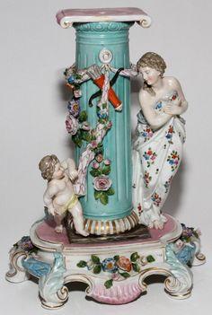 *DRESDEN ~ Porcelain Figural Base, 19th Century, allegorical figures of Cupid + Venus flank the columnar center. Blue under glaze mark similar to that of Richard Klemn. Retailed by: Ovington's, New York.