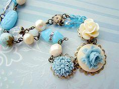 Bohemian Pastel Blue & Ivory Garden Assemblage by Alyssabeths, $33.00