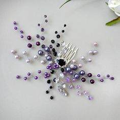 Purple Bridal Hair Comb Purple wedding hair piece Purple bridal hair piece Pearl wedding hair comb w Curly Wedding Hair, Wedding Hair Pieces, Bridal Comb, Bridal Hair Pins, Bridal Hair Accessories, Purple Hair, Purple Wedding, Wedding Hairstyles, Beaded Jewellery