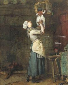 Where are the pigeons The pretty bird? , Bernardus Johannes Blommers. Dutch (1845-1914)