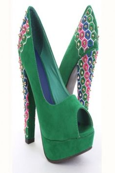 Green Velvet Threaded Design Pyramid Studded Heels