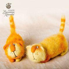 Коты Пабло и Панчо - коты,войлочные коты,оранжевый,авторская ручная работа
