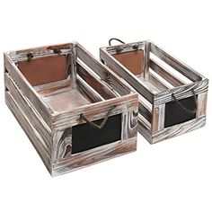 AmazonSmile : Distressed Torched Wood Finish Nesting Boxes / Rustic Storage Crates with Chalkboard Labels (Set of 2) : Office Products