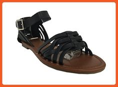 City Classified Women's Jowl Peep Toe Ankle Strap Flat Sandal, black leatherette, 8.5 M US - Sandals for women (*Amazon Partner-Link)