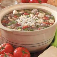 Italian Peasant Soup - this is one of my favorite recipes, we all love it! I use spicy italian sausage and put the spinach in each bowl instead of letting it wilt in the pot.