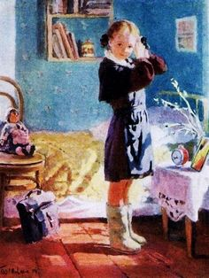 """""""Morning"""" – a painting by Olga Bogaevskaya, 1954. A Russian girl in a school uniform preparing for her lessons. #education"""