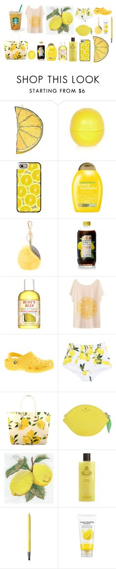 """""""Lemon"""" by p-calkova on Polyvore featuring beauty, Silken Favours, River Island, Casetify, Organix, Dolce&Gabbana, Burt's Bees, Kate Spade, Agraria and Revlon"""