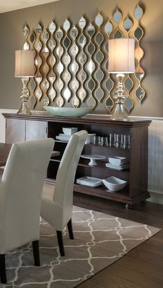 Cool mirror design. Too bad I don't have a wall to do this on, you would need a big empty space. #dinning #room #design