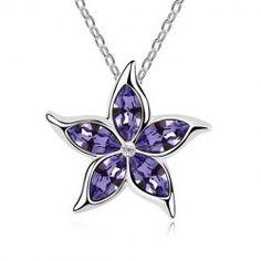 Rhinestone Flower Pendant Necklace For Women