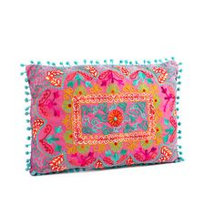 Fab.com | Karma Living: Pompom Embroidery Pillow Fuchsia, at 27% off!