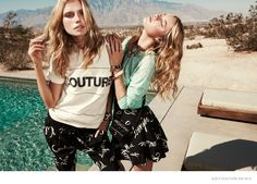 Enjoying the hot weather of Palm Springs, California, models Cato Van Ee and Camille Rowe go poolside for a new lookbook slash editorial captured for Juicy Couture. The blonde beauties wear looks from the brand's spring 2015 collection featuring printed jumpsuits, colorful bikinis, lace dresses and floral patterns. Their looks are accessorized with statement jewelry …