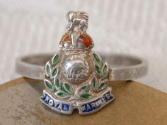 NICE WW2 HOME FRONT ROYAL MARINES REGIMENT SWEETHEART SILVER ENAMEL BADGE RING in Collectables, Militaria, World War II (1939-1945) | eBay