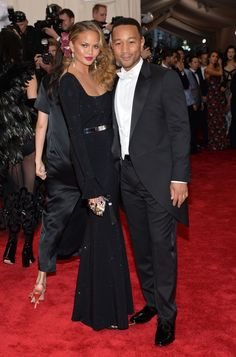 Chrissy Teigen and John Legend attend the 2015 Met Gala