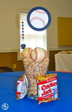 Baseball Theme Shower - table decoration unless you prefer not to put balls in your... Food.