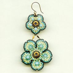 Miguel Ases Robin Egg Flower Earrings Jewelry