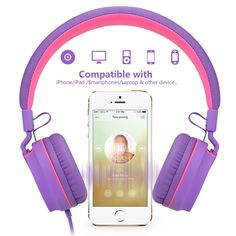 Ailihen I35 Headphones for kids with microphone - purple red :  http://amzn.to/2bXybEL