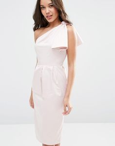 Image 3 of ASOS WEDDING One Shoulder Structured Bow Dress