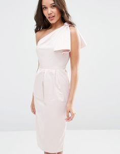 Image 3 ofASOS WEDDING One Shoulder Structured Bow Dress