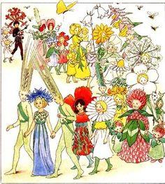 Flower Fairies Parade Bees Fairy Tale Postcard Elsa Beskow Sweden