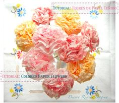 Flores de papel higiénico teñido manualidad facil Explicaciones # Colored Toilet Paper flowers DIY Tutorial