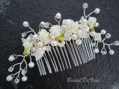 Pretty Bridal Handmade Flower Pearl and Swarovski by BridalDeVine, £55.00