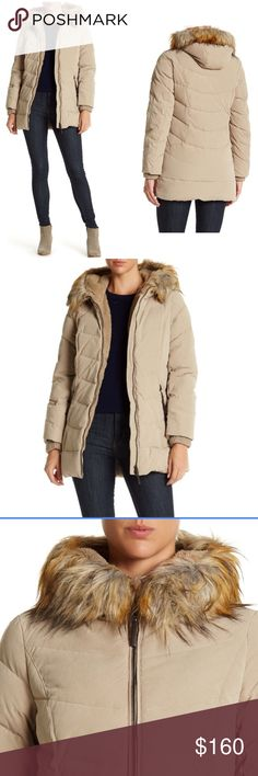 """DKNY faux fur hooded khaki  coat S M L NWT - Mock neck with attached hood - Detachable faux fur trim - Long sleeves with knit ribbed cuffs - Front zip  - 2 front zip closure pockets - Baffled down and waterfowl feather filling - Water repellent - Approx. 31"""" length Shell: 92% polyester, 8% nylon Hood & body lining: 100% polyester Fill: 60% down, 40% waterfowl feathers Faux fur trim: 80% acrylic, 20% polyester Trim: 85% viscose, 15% polyester with PU coating Knit rib trim: 100% acrylic Remove…"""