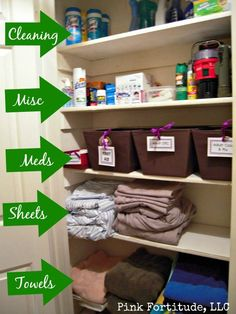 The best place to store what should go in your bathroom linen closet. Gotta re-organise my linen closet so it will work for both kids, as well as for the adults in the house. Linen Closet Organization, Life Organization, Bathroom Organization, Organizing Ideas, Organising, Organizing Life, Bathroom Storage, Hall Closet, Closet Space