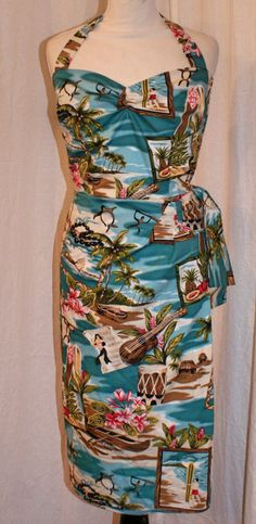 Vintage inspired blue Hawaiian sarong halter wiggle dress XS to XXL VLV rockabilly Viva 60s Dresses, Vintage Style Dresses, Vintage Wear, Vintage Clothing, Vintage Outfits, Hawaiian Dresses, Hawaiian Theme, Blue Hawaiian, Rockabilly Style
