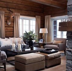 89 Excellent and Cozy Cabin Style Decoration Ideas - Homearchitectur Cabin Chic, Cozy Cabin, Cozy House, Chalet Chic, Ski Chalet, Living Room White, White Rooms, Home And Living, Cozy Living